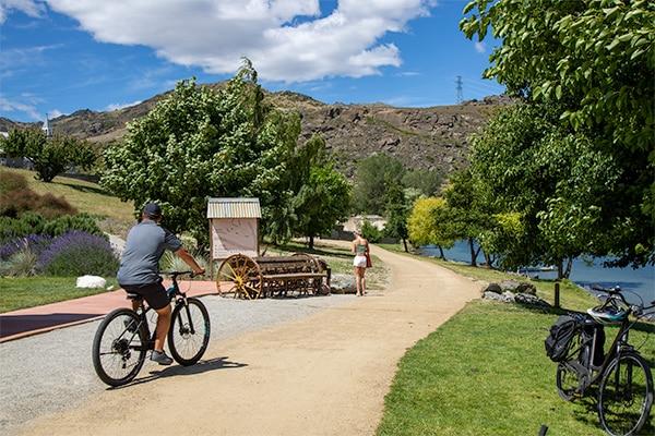 Man Biking Along Lakeside Track