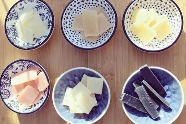 Bowls with Different Types of Cheese